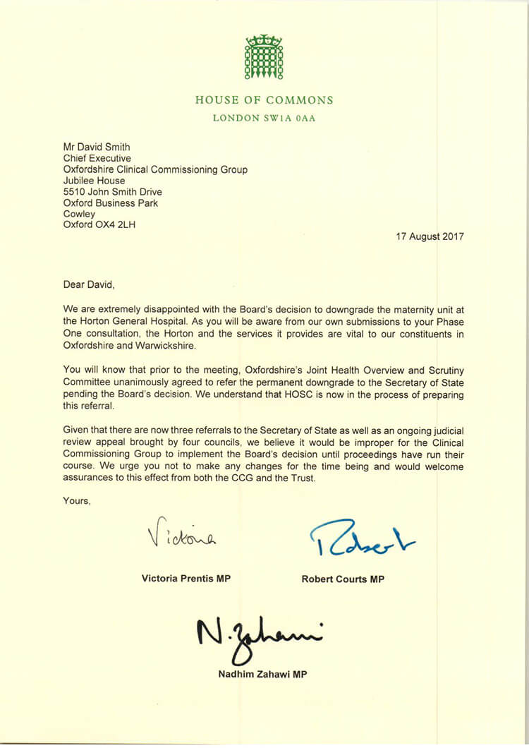 MPs letter to CCG chief exec