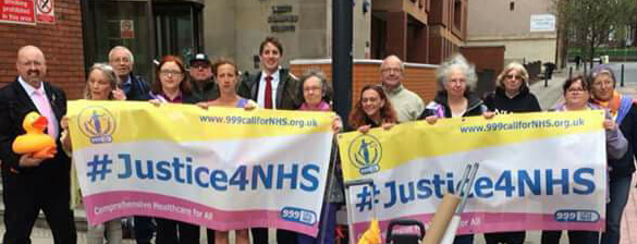 NHS campaigners at Leeds High Court, 27 April 2018