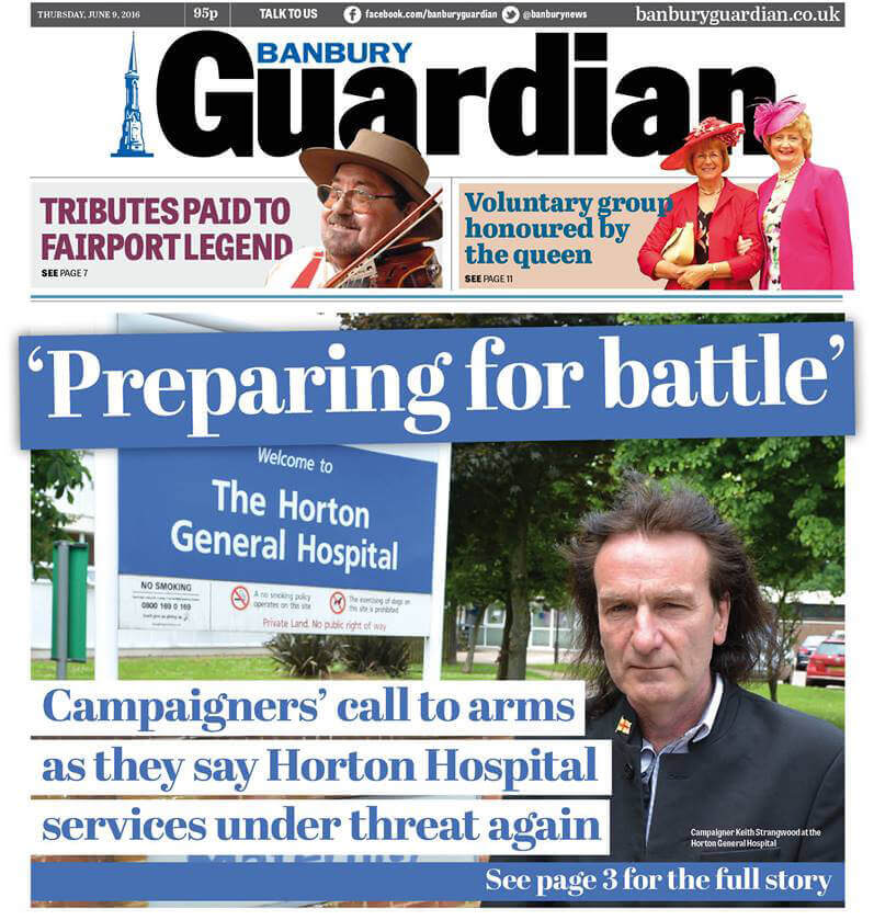 KTHG chair talks to Banbury Guardian outside Horton General Hospital maternity unit
