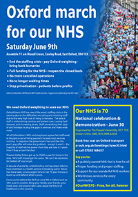 NHS demo 9 June Oxford and 30 June London