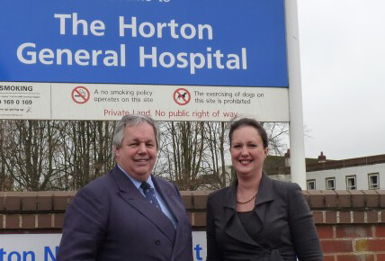 Banbury MP Victoria Prentis and Sir Tony Baldry outside Horton General Hospital maternity unit