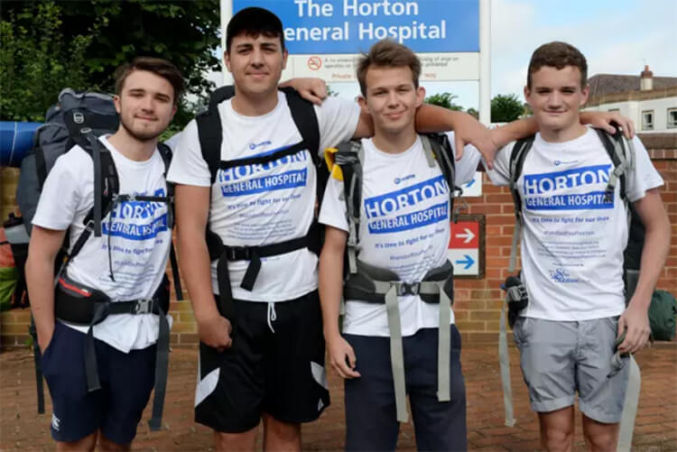 Walkers outside Horton General Hospital