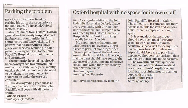 Letters to Daily Telegraph re parking problems May 2017