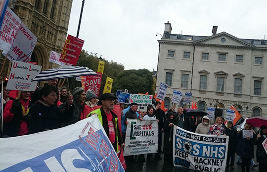 campaigners at 2nd reading of NHS bill