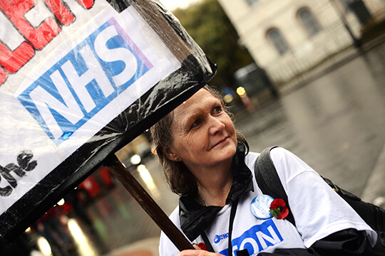 KTHG campaigner Audrey Thomas at 2nd reading of NHS Reinstatement Bill