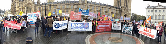 panorama of demonstration at 2nd reading of NHS bill