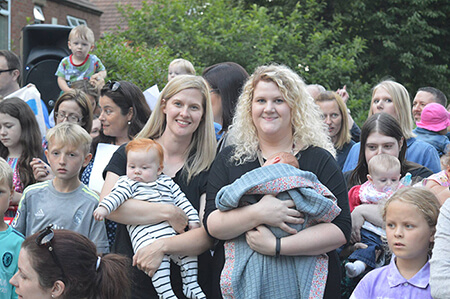 New mums and babies join the crowds in support of the Horton