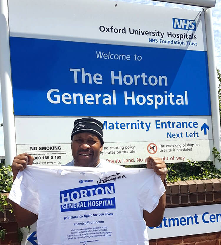 Former World Champion boxer Tim Witherspoon shows his support for the Horton General Hospital